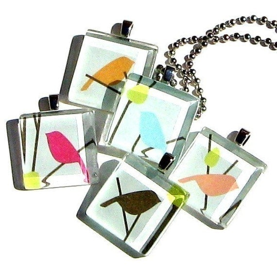 love birds - glass tile and Japanese chiyogami pendant necklace with gift tin