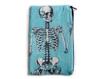 Blue Anatomical Skeleton Makeup Bag