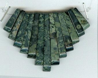 Green Rainforest Rhyolite Mini Cleopatra Gemstone Collar Graduated Stick Beads Fan 13pc Bead Set