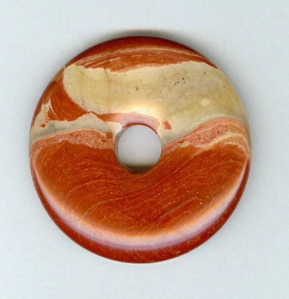 CIJ SALE - 40mm Breciated Jasper PI Donut Pendant Bead