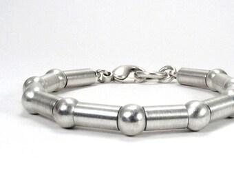Sterling Silver Tube & Bead Link Bracelet - Articulate