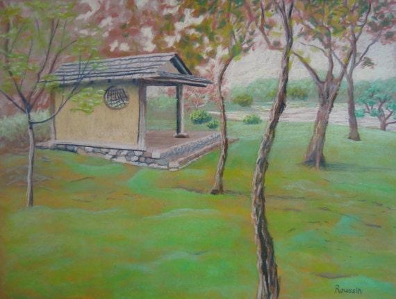 """Original Art Work of Seiwa-en Garden """"Place of Rest"""" impressionism impressionist architecture art Missouri Botanical Garden"""
