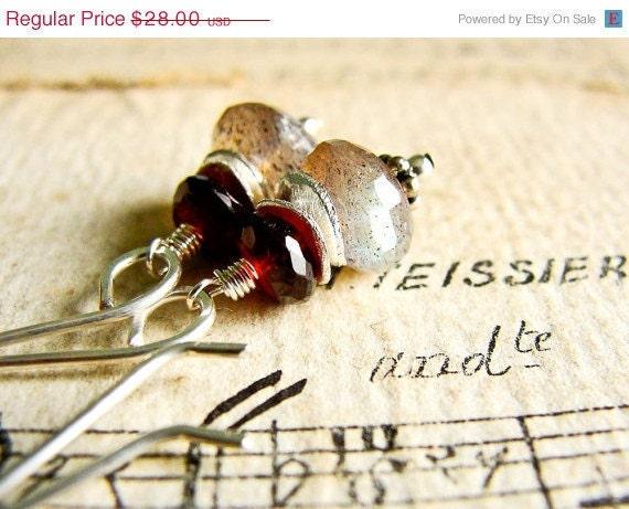 B L O S S O M... Labradorite and garnet sterling earrings