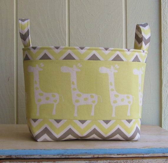 Fabric Storage Bin- Organizer- Basket- Giraffes- Yellow- Off White- Gray- Extra Large