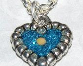 Miniature Blue Heart Necklace