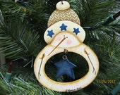 Snowman Ornament with star in the belly  Cyndi Combs design