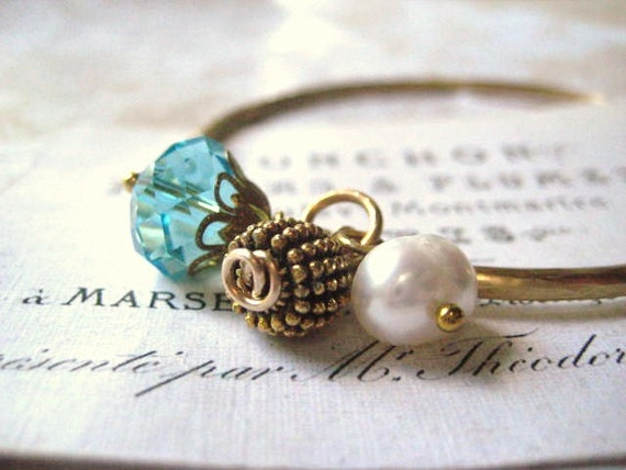 brass bangle charm bracelet hammered brushed satin finish gold ornate bead pearl aqua crystal crystal dangles womens jewelry under 50