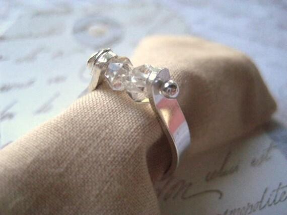 Herkimer diamond ring handmade sterling silver band handforged womens jewlery