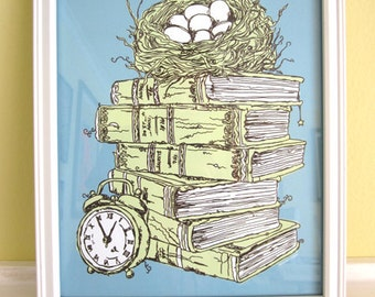 Stacked Books and Bird Nest, Kitchen Decor, Office Artwork, Baby Nursery, Back to School, Library, Turquoise, Mother's Day Gift, 8x10 Print
