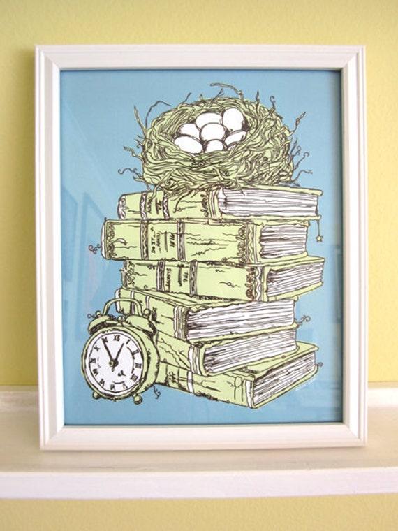 Stacked Books And Bird Nest Kitchen Decor Office Artwork