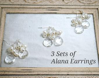 3 sets of Bridesmaids Earrings, Three Cluster Crystal Teardrop Earrings, Freshwater Pearls, Beach Wedding Theme, Sterling Silver
