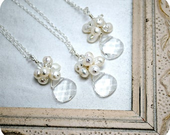 3 sets of Bridesmaids Necklaces, Three Bridal Necklaces, Beach Theme Wedding, Bridal Party, Cluster Pendant, Bridesmaids Jewelry