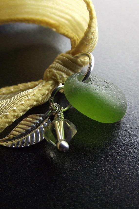 Sea Glass Jewelry -  Silk Ribbon Wrap Charm  Bracelet, Necklace, Or Anklet - Wrap It Up