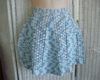 Darling Handmade Vintage Crochet Blue and White Apron