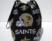 HOLIDAY SALE - New Orleans Saints Drawstring Knitting Project Bag