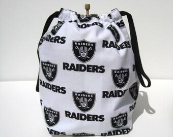 MOVING SALE - Oakland Raiders Drawstring Knitting Project Bag