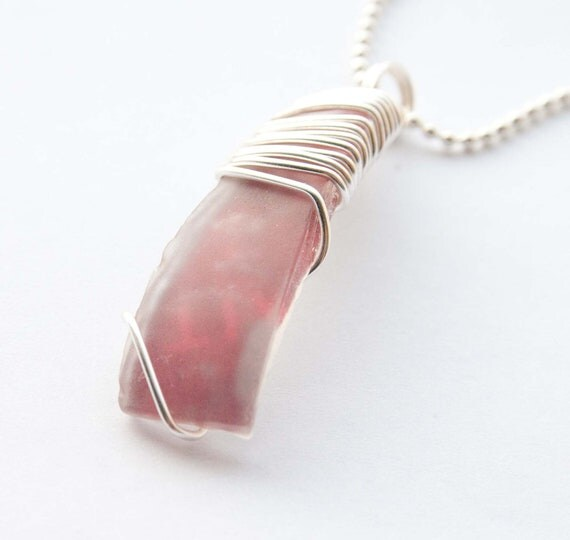 Red and Silver Wire Wrapped Recycled Glass Pendant, Seaglass, Gifts under 20