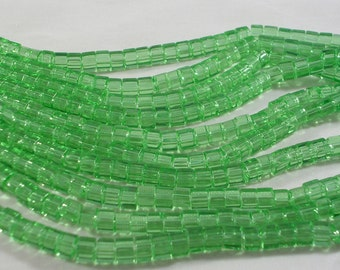 SALE 4mm Green Glass Cube Beads (GB117)