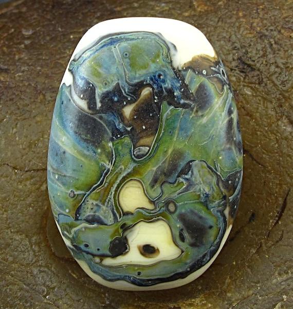 Handmade Lampwork Glass Focal Bead -Moss Shards- by Jason Powers SRA