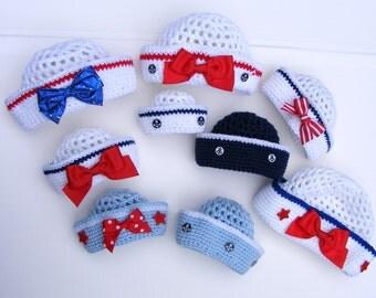Crochet Sailor Hat - Crochet Hat Patterns - Easy 8 Sizes Sailor Crochet Hat Pattern - Tutorial for Pull Tie Bow