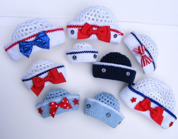 Crochet Pattern Sailor Hat : Crochet Sailor Hat Crochet Hat Patterns Easy 8 Sizes