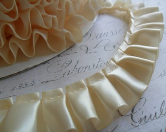 7/8 Wide Buttercream Satin Box Pleat Ruffle trim