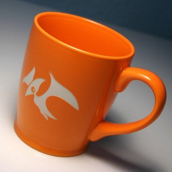 Sale Pterodactyl Mug Tangerine Orange Large By Breadandbadger