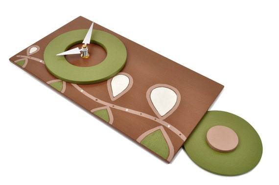 Wall Clock with Pendulum - Nature Song - Chocolate Brown, Olive Green Contemporary Clock - 2 Sizes