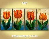 Original still life painting, 4 panels tulip floral art, palette knife impasto texture acrylic on canvas 52x24 by tim lam