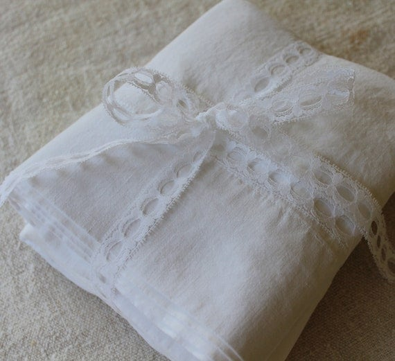 Vintage Bolster Cases -Pair Cotton Muslin - 1920s-1940s - Cottage Chic