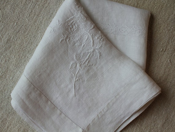 Vintage Organdy Tablecloth - White with Embroidery and Hemstitching - Roses - Beautiful