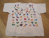 Childs Cotton Embroidered Creature Shirt