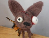 Zombie Chihuahua needle felted art doll