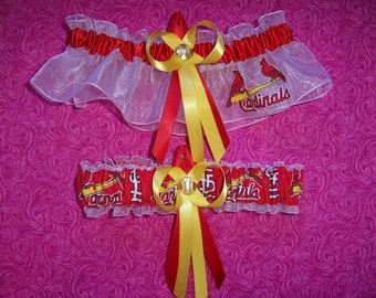 Saint Louis Cardinals Wedding Garter Set    Handmade  St.  Keepsake and Toss