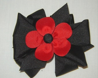 3 in One Hairbow with Red Petal and a Black Center