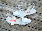 size 8 white Italian leather sandals