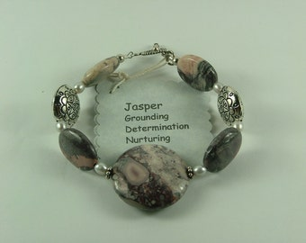 Jasper and silver Bracelet-B3