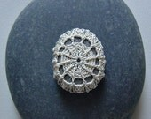 Crocheted Lace Stone, Beige, Gray Stone, Handmade by Monicaj