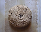 Holidays, Entertaining, Thanksgiving, Crochet Lace Stone, Original, Handmade, Nature, Table Decoration, Flower, Golden Beige, Brown