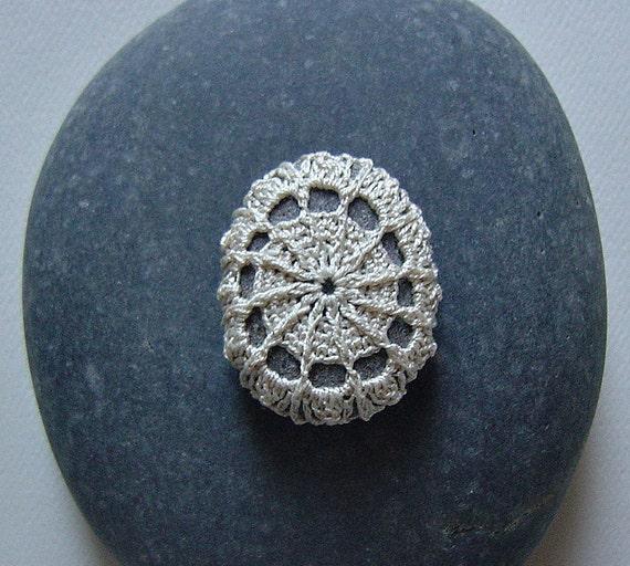 Crocheted Lace Stone, Beige, Gray Stone, Handmade by Monicaj