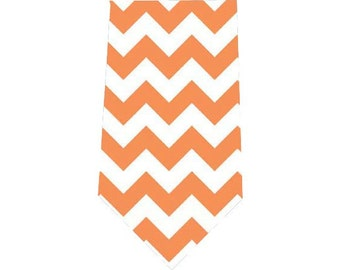 Men's Tie Orange Chevron Necktie