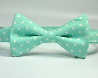 Aqua Polka Dot Bow Tie for Boys