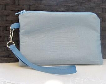 Wristlet, wallet, clutch, Powder Blue Chiffon wristlet, gadget bag