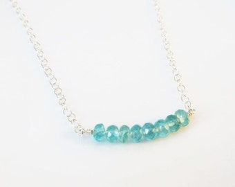 Apatite bar necklace, Carrie Necklace, Sterling Silver, Gemstone apatite necklace