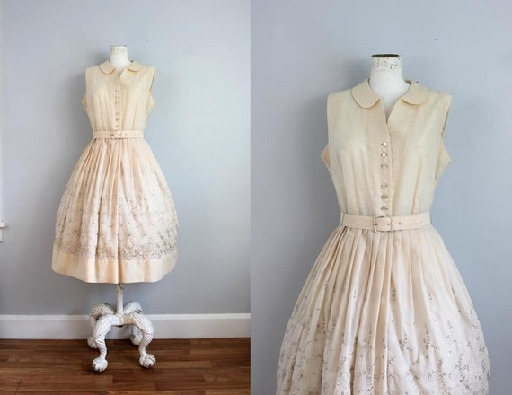 1950s romantic pale pink eyelet embroidered dress -M
