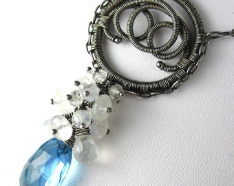 Summer Sky Necklace - Sky Blue Topaz and Moonstone in Silver