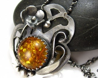 Fall Honey Necklace - Amber and Sterling Flower Necklace