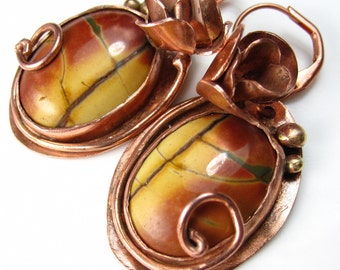Ladybug and the Rose - Copper and Jasper Earrings