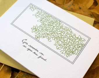 Ever Remember Me as Your True Friend Autograph Letterpress Card