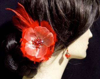 Red Wild Poppy Feather and Rhinestone Flower Hair Pin Clip Bridal Hairpin Brooch Corsage